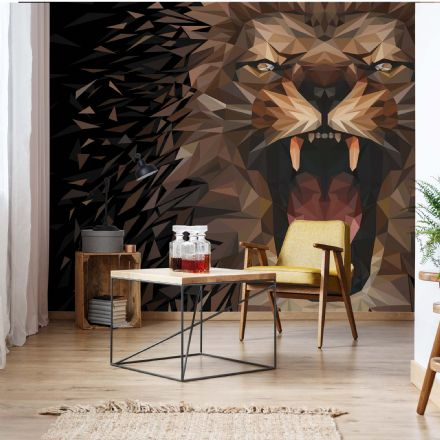 Photo wallpaper Lion Abstract black & brown